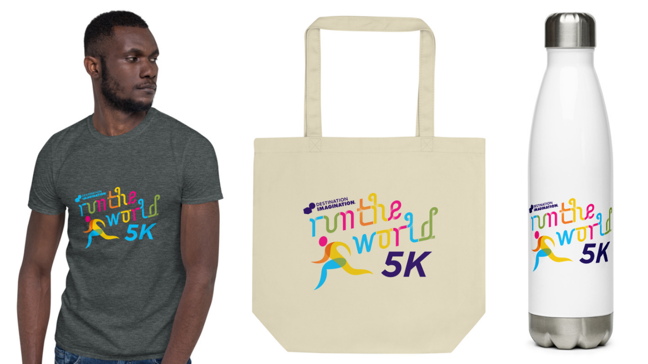 Images of race souvenirs, including a T-shirt, tote bag, and water bottle